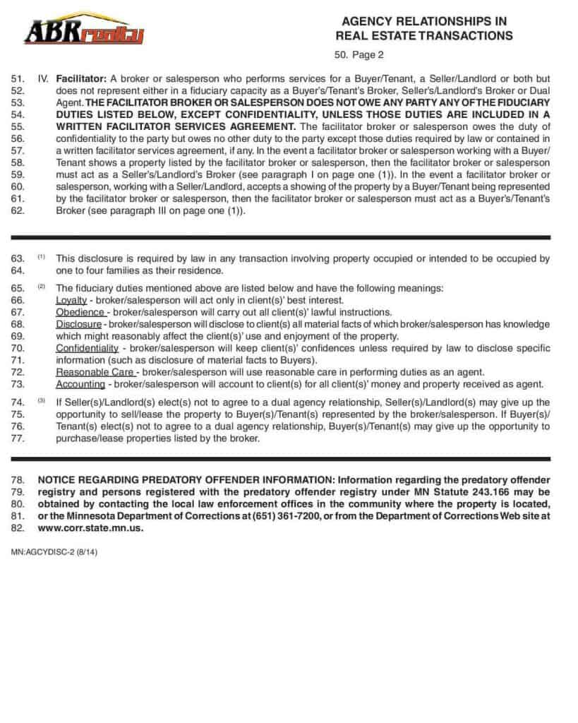 Agency Relationships in Real Estate Transactions in Minnesota -page 2