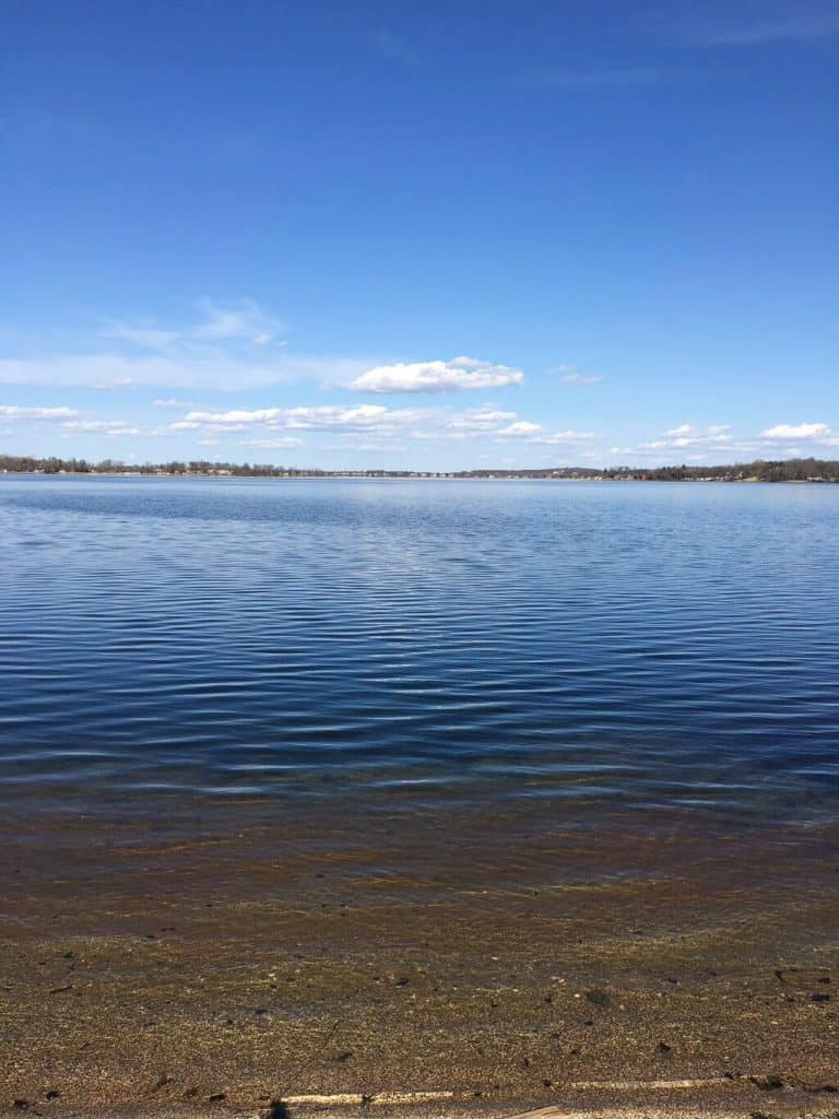 Ice out at Lake Le Homme Dieu