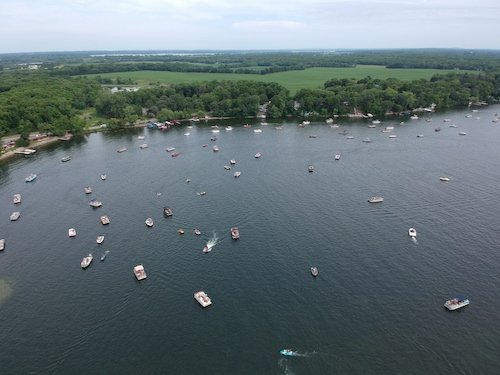 Aerial of Lake Carlos Boat Parade