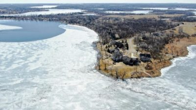 An aerial view of the southwest side of Lake Darling