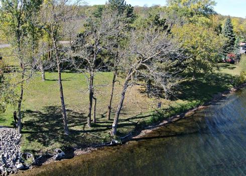 A view from above of a Lake Ida lot for sale at Bedman Drive.