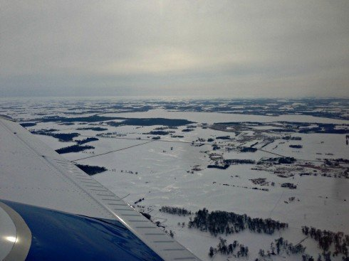A winter aerial view of Lake Mary in Alexandria, MN
