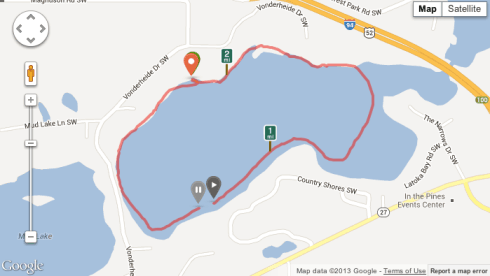 My route around Lake Latoka's south bay in Alexandria, MN
