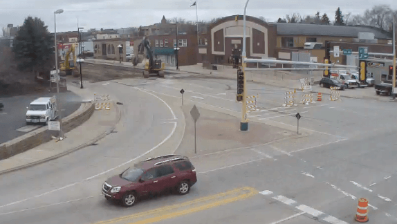 Road work on Broadway in Alexandria, MN