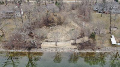 Aerial view of land for sale at the south end of Maple Lake