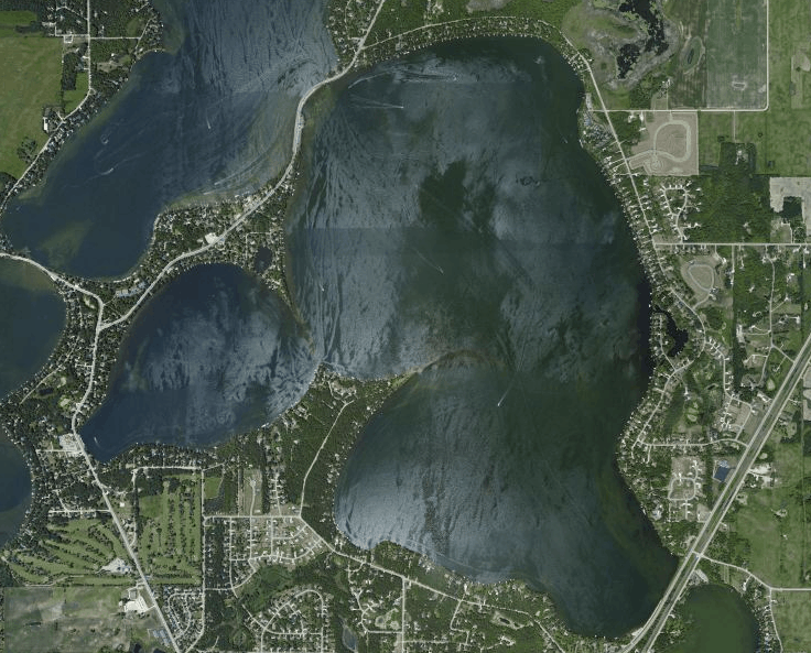An aerial view of Lake Le Homme Dieu in Alexandria, Minnesota