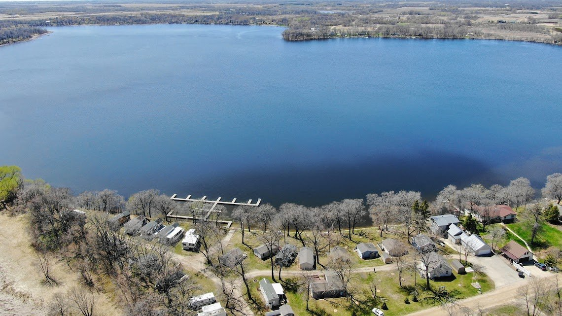 An aerial view of Smith Lake from the east