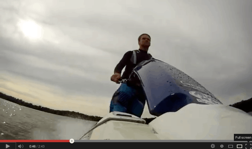 Jet skiing on Lobster Lake in Alexandria, Minnesota