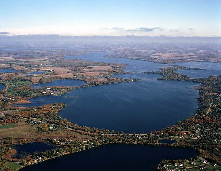 an aerial view of Lake Darling in Alexandria, Minnesota