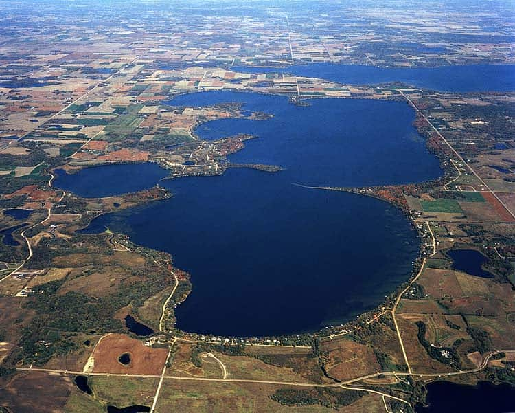 An aerial view of Lake Ida in Alexandria, Minnesota