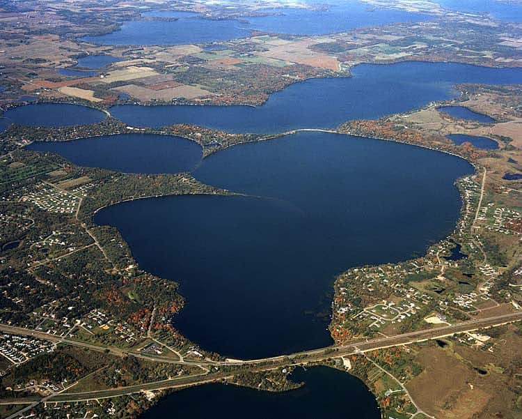 An aerial photo of Lake Le Homme Dieu by Vern Whitten Photography